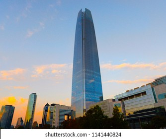 View of the center  of neighborhood  Providencia. Costanera Center or Sky Costanera is the tallest building in Santiago de Chile, South America