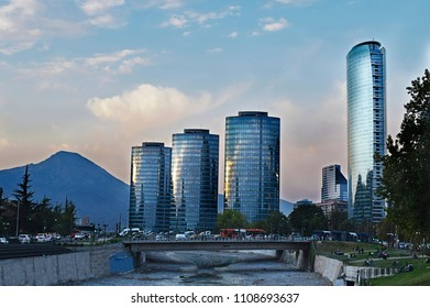 View of the center  of neighborhood  Providencia, near Costanera Center or Sky Costanera in Chile, South America