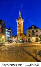 View of  center of Obernai, at night, Bas-Rhin Alsace France