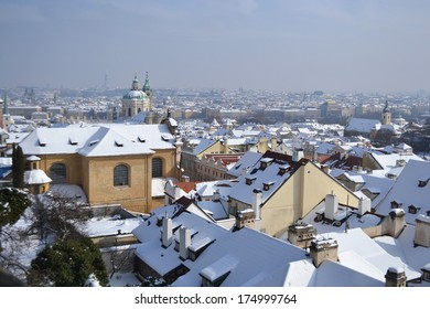 View of center of Prague from the grounds of Prague Castle, Czech Republic.