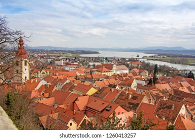 A view of the center of Ptuj city, church and old  town of Ptuj, Slovenia