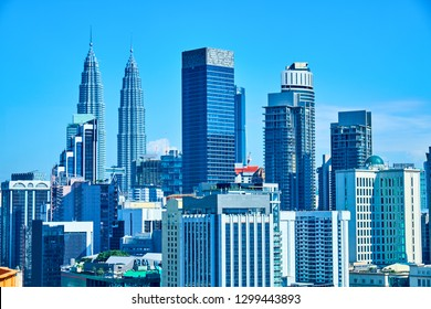 View of the central area with skyscrapers in Kuala Lumpur