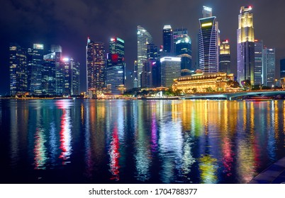 View of the central business district at night in Singapore