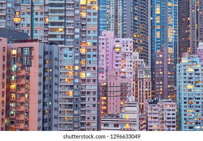 View of the Central District from above in Hong Kong