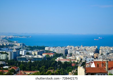 View of central downtown Athens as seen from the ancient Greek Acropolis.