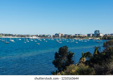 View of central Geelong from The Esplanade in Drumcondra in Geelong, Australia.