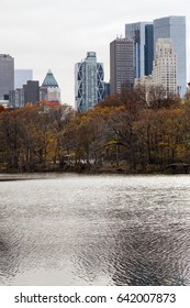View of the Central Park Lake with the residential towers of Central Park West (early 70s streets) in the background.