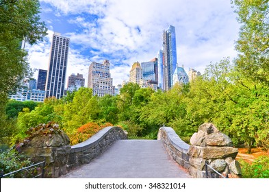 View of Central Park in New York City in autumn