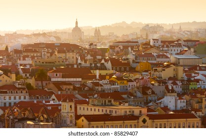 View of central part of Lisbon,Portugal at sunset