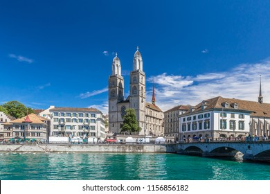 View of central Zurich in summer, Switzerland