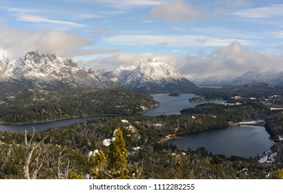 View from Cerro Campanario, Circuito Chico, San Carlos de Bariloche, Patagonia, Argentina. Recognized by tourists as the best view of Bariloche.