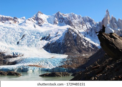 """view of the """"Cerro Torre"""" from a lagune in winter."""