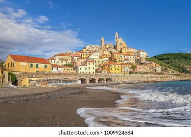 View of Cervo town from the beach, Province of Imperia, Liguria, Italy