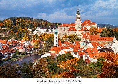 View of Cesky Krumlov is one of the most picturesque towns at autumn, Bohemia, Czech Republic.