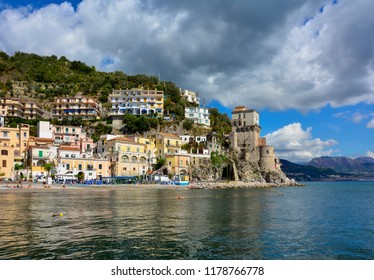 View of Cetara, a small fishermen village on the Amalfi Coast in Southern Italy. Located by the Tyrrhenian Sea, the town is a popular tourist destination