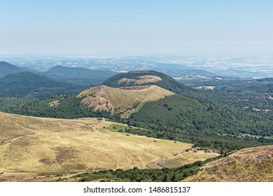 view of the chain of volcanoes from the height of Puy-de-Dome mountain, Auvergne, France