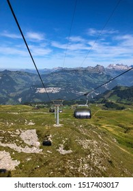 View from chairlift up the mountains of Switzerland.