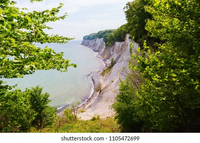 view of the chalk cliffs of Jasmund National Park, Ruegen, Germany, from above the cliffs