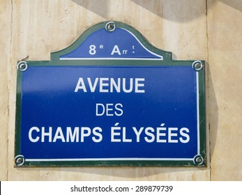 a view of a Champs Elysees signboard