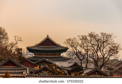 View of Changdeokgung Palace buildings complex in Seoul from the street
