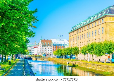 View of a channel in the central Goteborg, Sweden