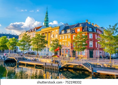 View of a channel next to the Christiansborg Slot Palace in Copenhagen, Denmark.