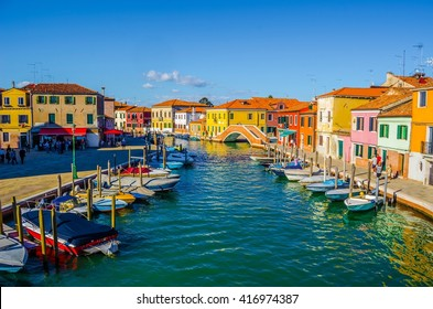 view of a channel on murano island in italy
