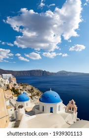 View of the characteristic village of Oia (La) on the Greek island of Santorini in the Cyclades archipelago
