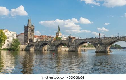 View of Charles Bridge build in 1357 - Prague - Czech Republic
