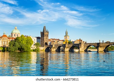 View of  Charles Bridge and Lesser Bridge Tower in Prague, Czech Republic
