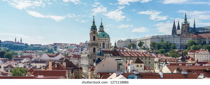 View from Charles Bridge to Prague Castle and St. Nicholas Church