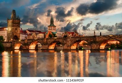 View of Charles bridge in Prague, Czech republic
