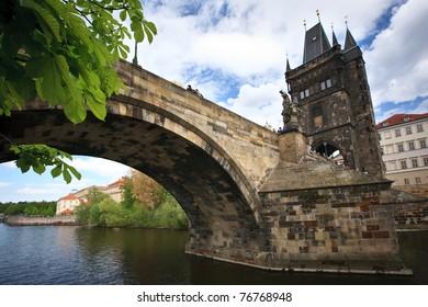 View of the Charles Bridge in Prague, Czech republic