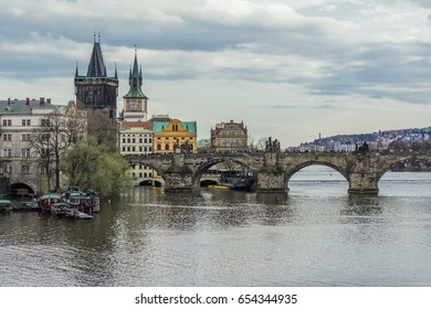 View of the Charles Bridge from the side of the Manes Bridge. The River Vltava. Area of the Old Town. Prague, Czech Republic.