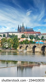 View of the Charles Bridge Tower from the river Vltava, Prague
