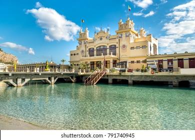 View of Charleston, the Mondello beach establishment on the sea in Palermo, Sicily, Italy