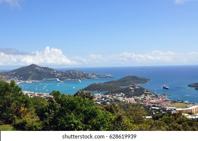 View of Charlotte Amalie from Crown Mountain in St. Thomas, USVI
