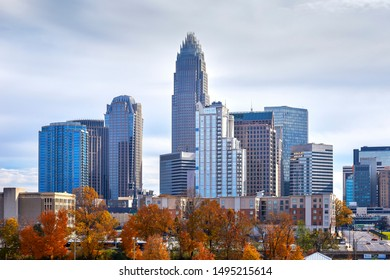 View of the Charlotte, North Carolina skyline and autumn colors in November 2017