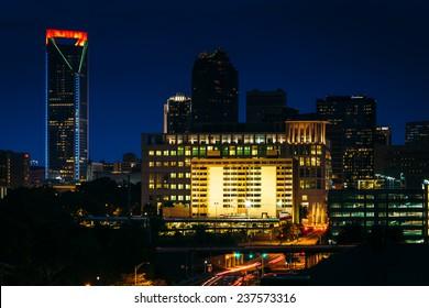 View of the Charlotte skyline at night, North Carolina.