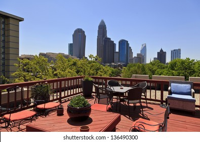 View of Charlotte Skyline from Rooftop