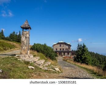 The view of Chata Jiřího na Šeráku mountain hut on top of Šerak hill. Hrubý Jeseník. Czech Republic.