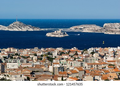 View of Chateau d'If in Marseille from the Notre-Dame de la Garde