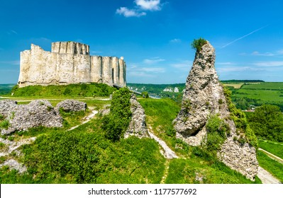 View of Chateau Gaillard, a ruined medieval castle in Les Andelys town - Normandy, France