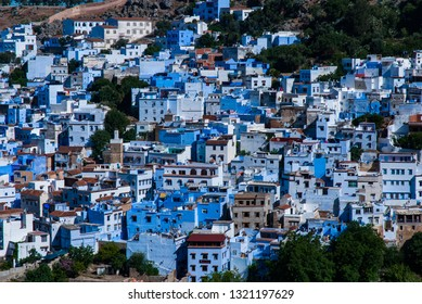 The view of Chefchaouen city on the hill in Marocco. Chefchaouen is called blue city.