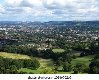View of Cheltenham from the top of Leckhampton Hill, Gloucestershire, UK