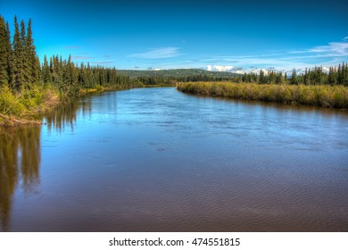 View of Chena River in Fairbanks, Alaska on a bright summer's day.