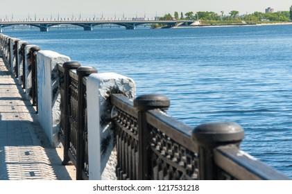 View of Chernavsky Bridge from embankment of Voronezh River, Voronezh, Russia