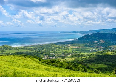 View from Cherry Tree Hill to tropical coast of  caribbean island Barbados