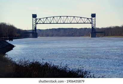 The view of the Chesapeake and Delaware Canal Lift bridge near Middletown, Delaware, U.S.A