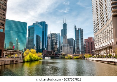 View of Chicago cityscape from Chicago River  Illinois, United States